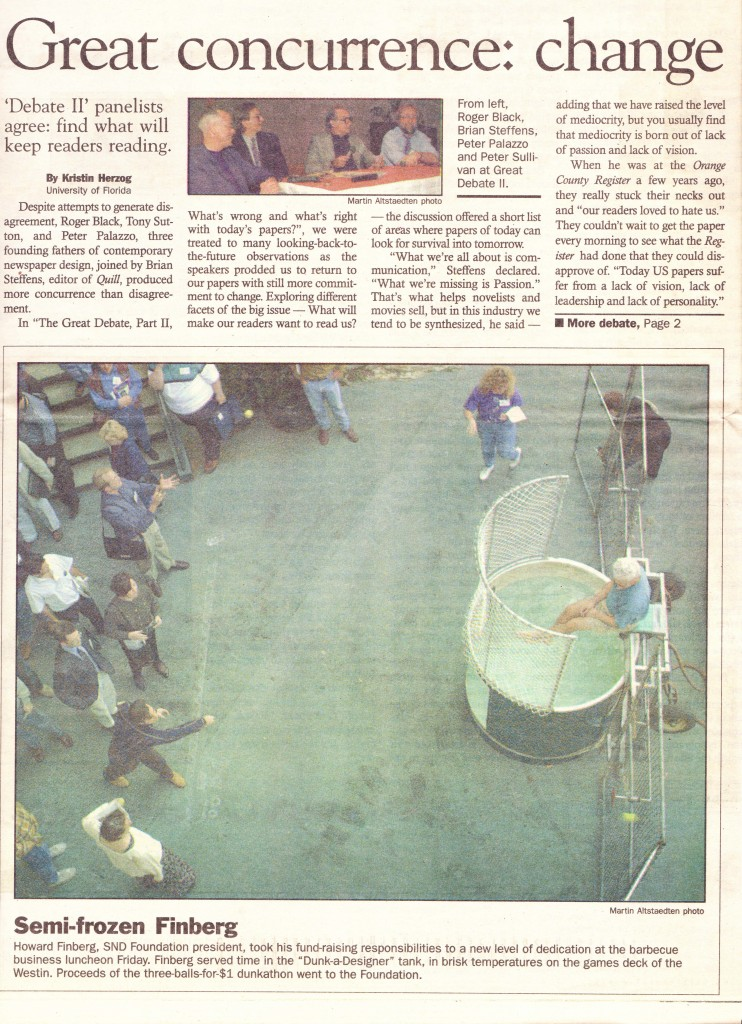 Front page of the SND Chronicles, Oct. 15, 1994